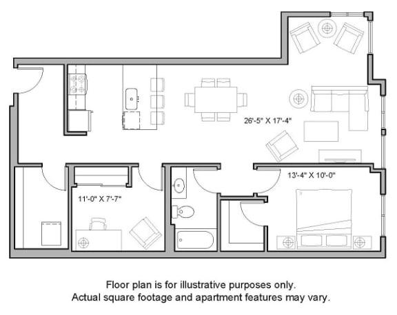 Floor Plan  Floorplan at The Whittaker, Seattle, Washington