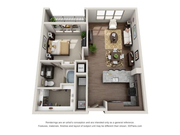 A5 Floor Plan at ALARA Uptown, Dallas, TX