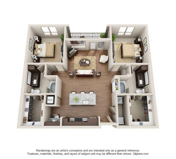 Two Bedroom   Two Bathroom Floor Plan at ALARA Uptown, Dallas, 75204