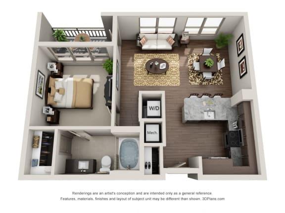 One Bedroom   One Bathroom Floor Plan at ALARA Uptown, Texas