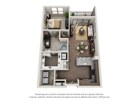 One Bedroom   One Bathroom Floor Plan at ALARA Uptown, Dallas