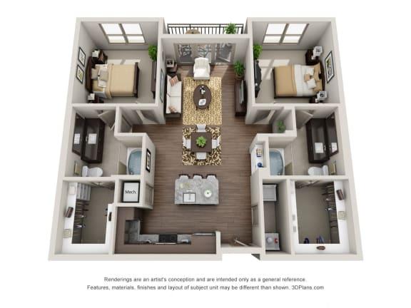 Two Bedroom   Two Bathroom Floor Plan  at ALARA Uptown, Texas, 75204