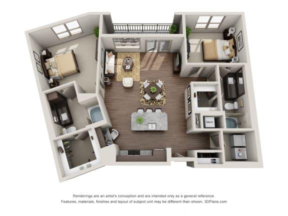 Two Bedroom   Two Bathroom Floor Plan at ALARA Uptown, Dallas, Texas