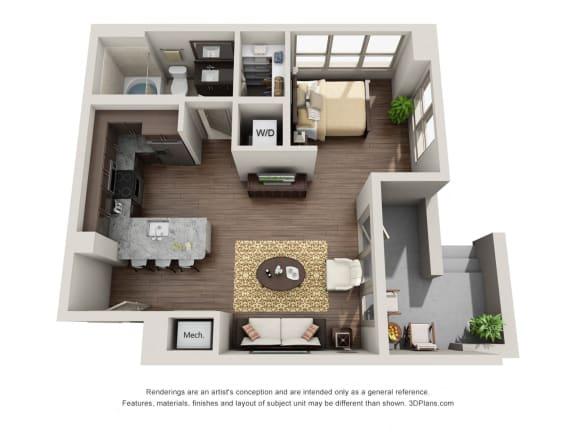 Studio Floor Plan at ALARA Uptown, Dallas, 75204