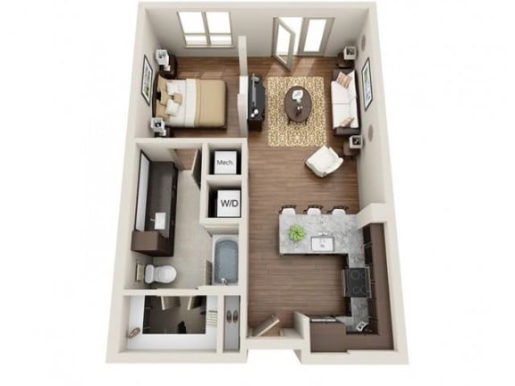 Studio Floor Plan at ALARA Uptown, Dallas, Texas