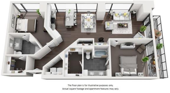Floor Plan  spacious apartments at 1000 Speer by Windsor