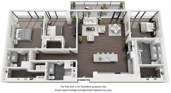 Floor Plan  3 bedroom apartment floor plan