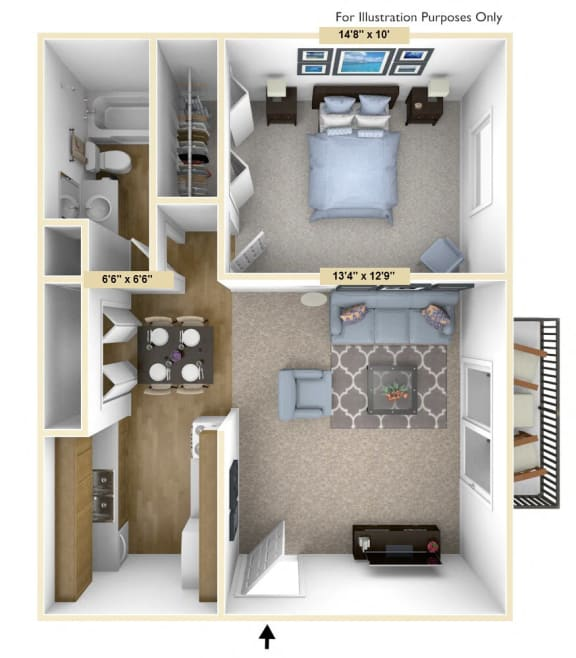 Haven - 1 Bed 1 Bath Floor Plan at Woodland Place, Midland, Michigan