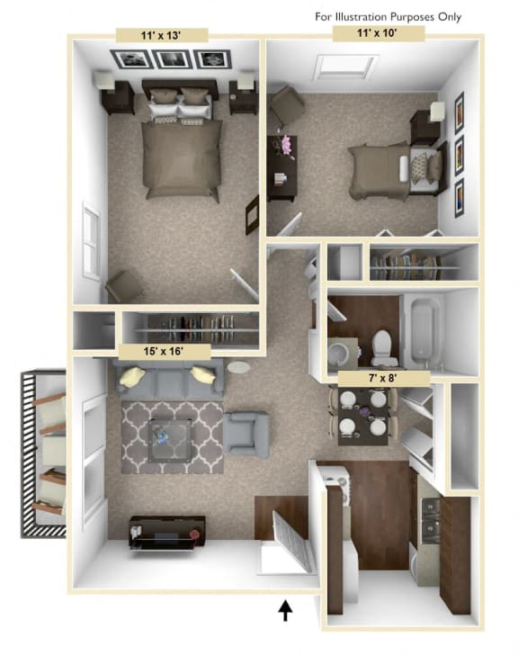 Timberland - 2 Bedroom with 1 Bath Floor Plan at Woodland Place, Midland, 48640