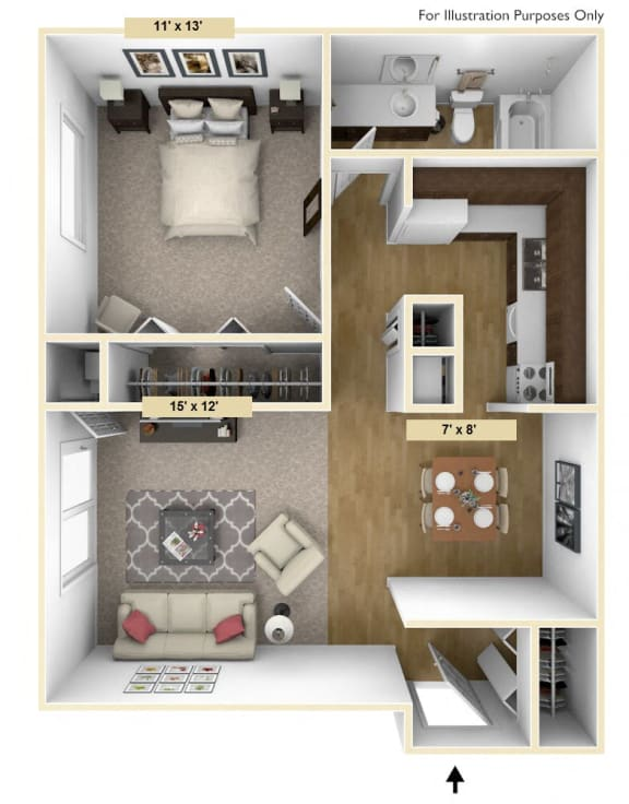 Roseland One Bedroom Floor Plan at Windsor Place, Michigan