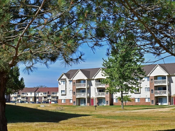 Incredible green views from balcony or patio at Windsor Place Apartments in Davison, Michigan