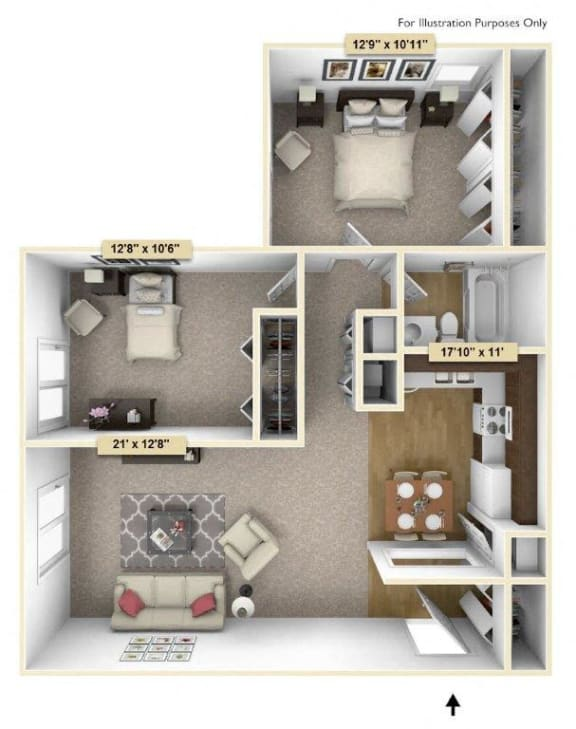 Crescent - Two Bedroom One Bath Floor Plan at Grand Bend Club, Grand Blanc