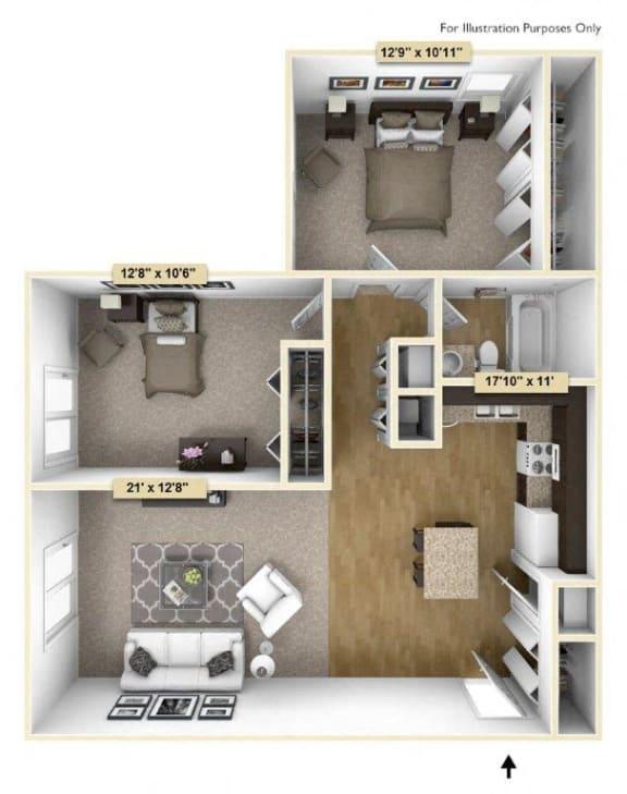 Regal - Two Bedroom One Bath Floor Plan at Grand Bend Club, Michigan, 48439