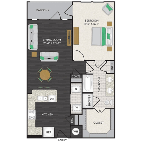 Floor Plan  Floorplan at Midtown Houston by Windsor, Texas, 77002