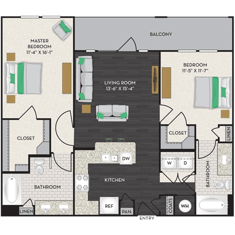 Floor Plan  Floorplan at Midtown Houston by Windsor, Houston, Texas