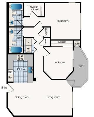 Floor plan B2, at 909 West Apartment Homes, Arizona,  85283