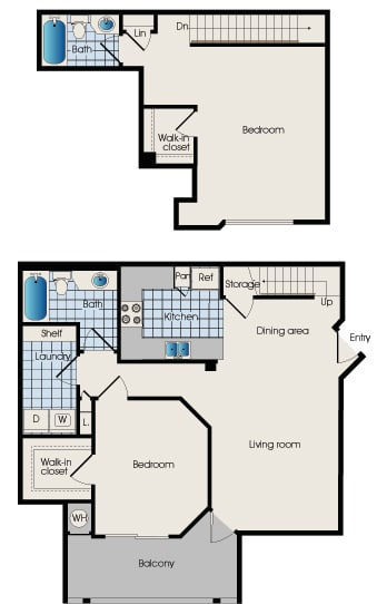 Floor plan B3 at 909 West, two bedrooms, Tempe, AZ, 85283