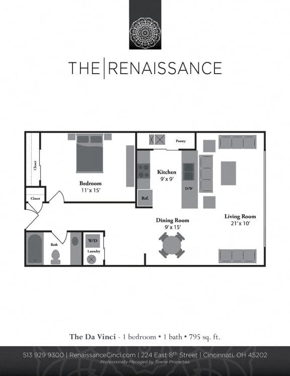 The Davinci 1 Bed 1 Bath Floor Plan at Renaissance at the Power Building, Ohio, 45202