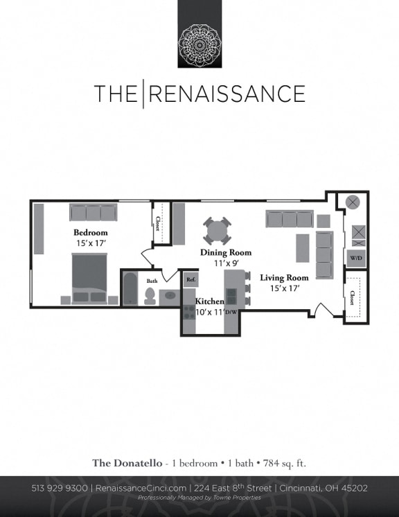 The Donatelo 1 Bed 1 Bath Floor Plan at Renaissance at the Power Building, Cincinnati, OH, 45202