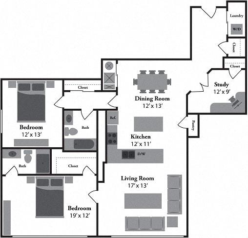 The Naples 2 Bed 2 Bath Floor Plan at Renaissance at the Power Building, Cincinnati, 45202