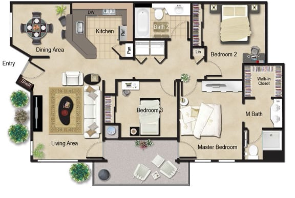 3 Bed, 2 Bath Floor Plan at Renaissance Apartment Homes, Santa Rosa, California