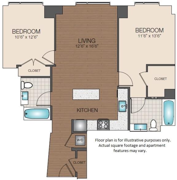 Floor Plan  2 bedroom 2 bath The Victor Apartments North Station