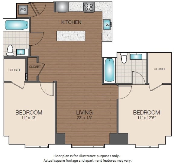 Floor Plan  two bedroom two bath open floorplan The Victor Apartments 02114