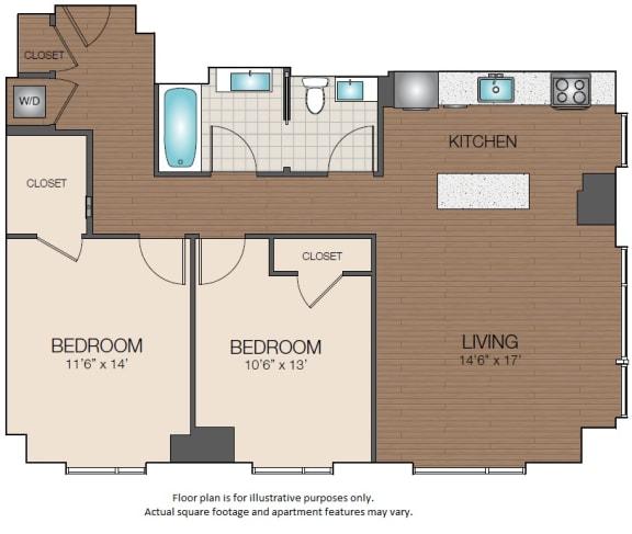 Floor Plan  2bedroom luxury The Victor Apartments Boston, MA