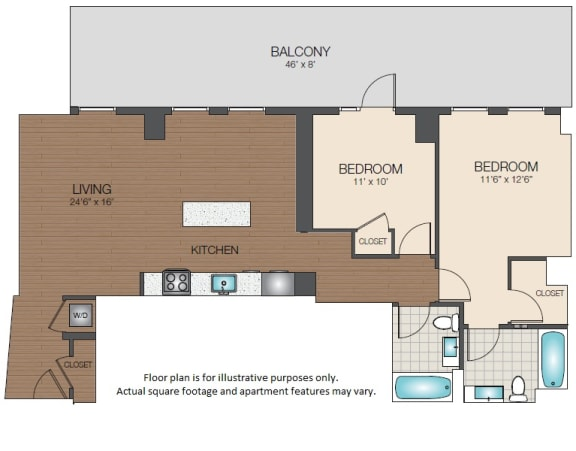 Floor Plan  two bedroom with balcony The Victor Apartments Boston, MA, opens a dialog