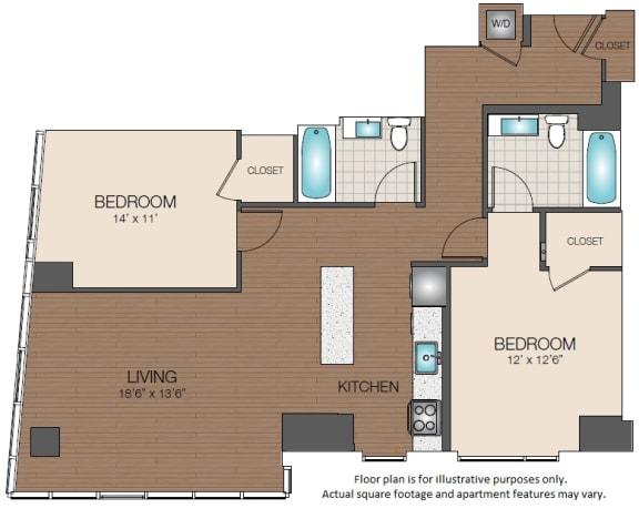 Floor Plan  Luxury West End Apartments 2 bedroom 2 bathroom floorplan The Victor