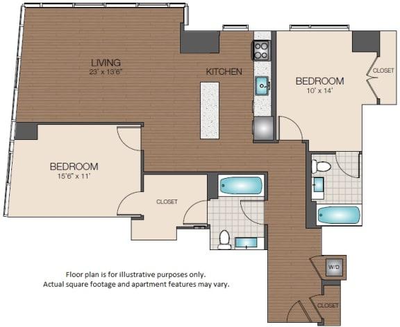 Floor Plan  2bd 2ba The Victor Apartments West End Boston