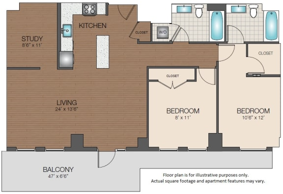 Floor Plan  2bd 2ba plus study luxury apartments The Victor West End, MA