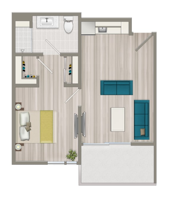 Floor Plan  Furnished Boutique One Bedroom Suite