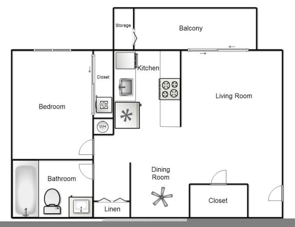 Floor Plan  1 x 1 Floorplan at Reflections at the Marina, 89434