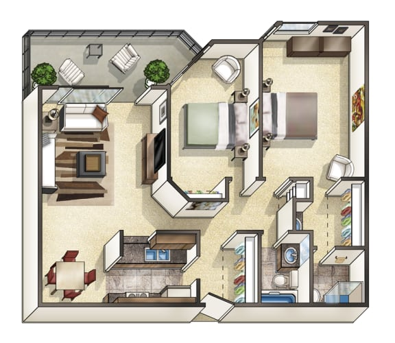 2 Bedroom 2 Bathroom Floor Plan