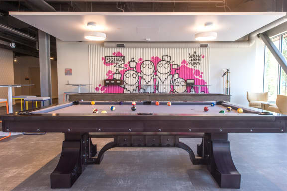 Game Room with Billiards and Shuffle Board The Foundry at 41st Apartments, Lawrenceville, Pittsburgh, PA