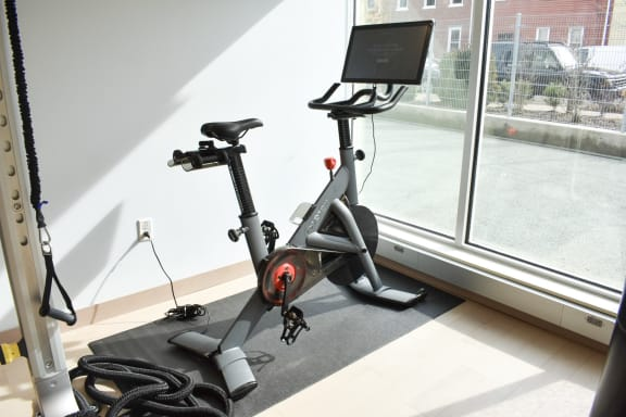 Peloton Bike inside the fitness center at The Foundry at 41st apartments in Lawrenceville, Pittsburgh 15201