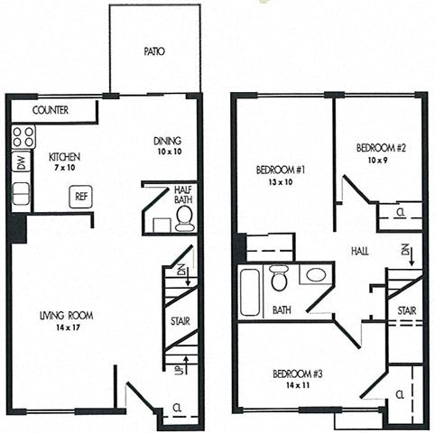 Three Bed Room Floor Plan at Arbor Pointe Townhomes, Battle Creek