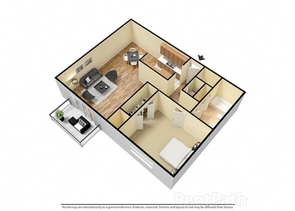 1 Bed 1 Bath West Phase Floor Plan at Candlewyck Apartments, Kalamazoo, Michigan