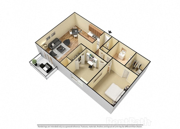 2 Bed 1 Bath West Phase Floor Plan at Candlewyck Apartments, Kalamazoo, MI