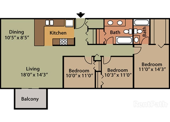 3 Bed 2 Bath Floor Plan at Candlewyck Apartments, Kalamazoo, MI
