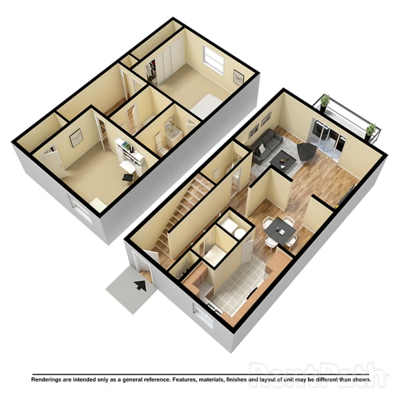 Floor Plan  2 BR 2.5 Bath Townhome at Country Lake Townhomes, Indianapolis, Indiana