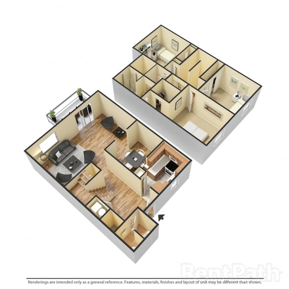 Floor Plan  3 BR 2.5 Bath Townhome at Country Lake Townhomes, Indiana