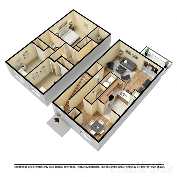 Floor Plan  3 BR 1.5 Bath Townhome at Country Lake Townhomes, Indianapolis