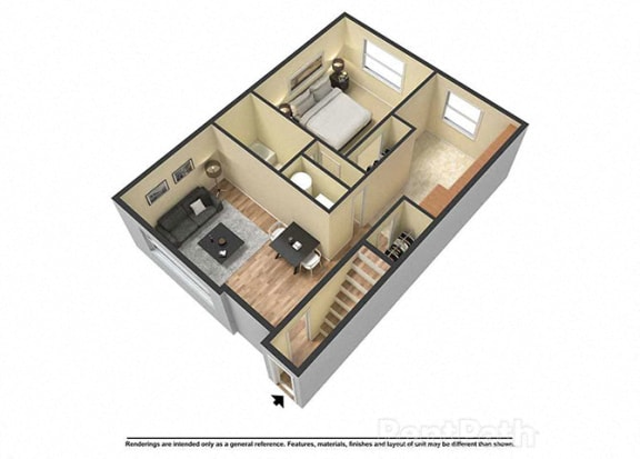 Floor Plan  1 Bed, 1 Bath at Fountainview Apartments, Indianapolis, IN