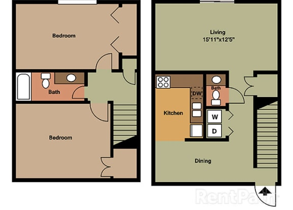 2 Bedroom Townhome Floor Plan at Hamilton Square Apartments, Westfield