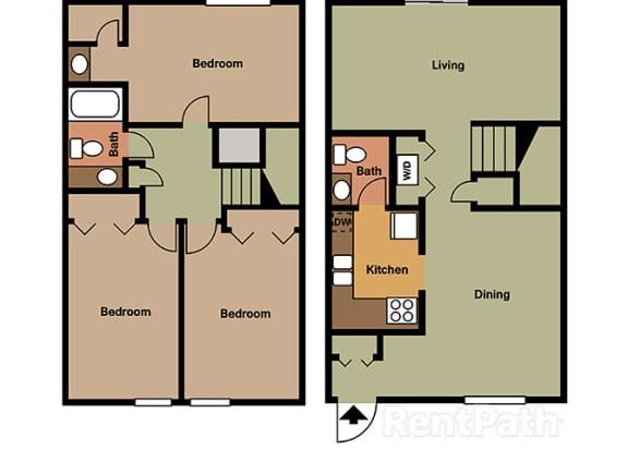 Three Bedroom Townhome at Hamilton Square Apartments, Indiana