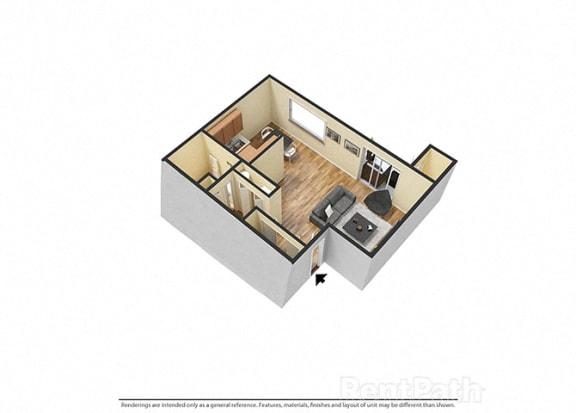 Floor Plan  Large Studio 3d Floor Plan at Hamilton Square Apartments, Westfield, IN, 46074
