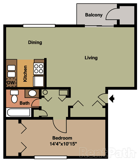 One Bedroom Floor Plan at Hamilton Square Apartments, Westfield, IN