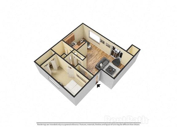 Floor Plan  One Bedroom Attractive Floor Plan at Hamilton Square Apartments, Westfield